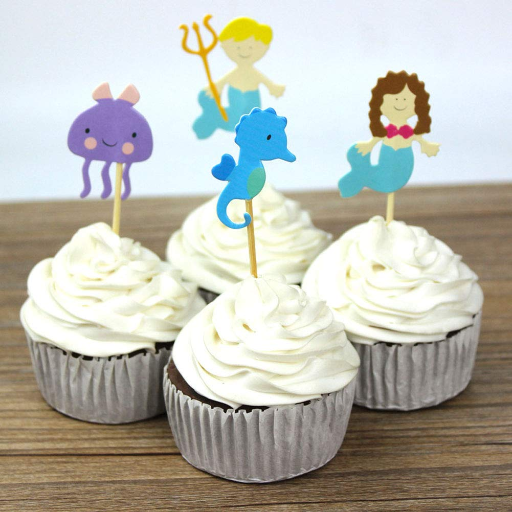 Mermaid Pirate Cupcake Toppers Food Picks, Fruit Appetizer Decorations For Birthday Baby Shower Party Favors (48 Pack)