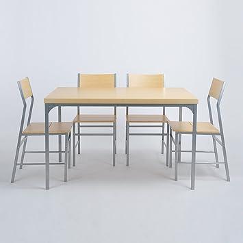 Esstisch und 4 Stühle, Eggree 5 Stück Home Küche Esstisch aus Holz ...