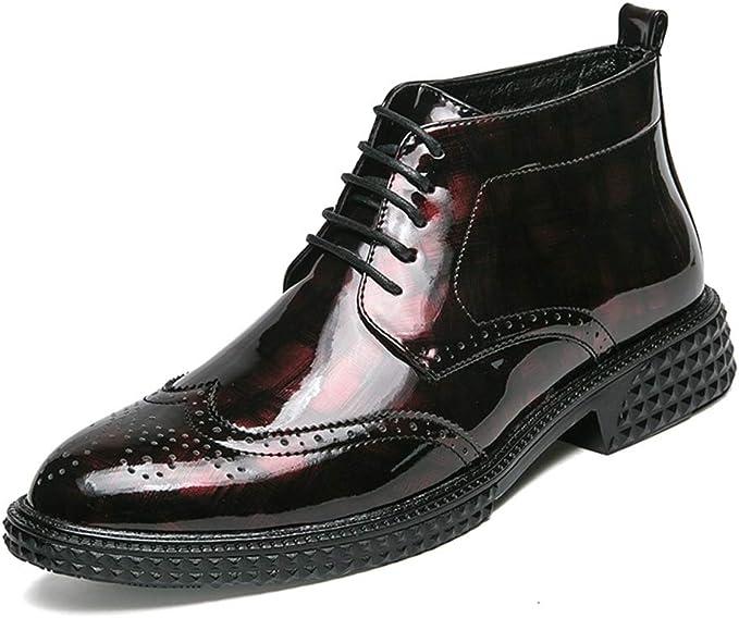 Zhulongjin Botines de Estilo británico for Hombres for Hombres Talla Alta Zapatos Oxford Oxford Brogue Suela de Goma de Charol sintético con Cordones Moda Resistente al Desgaste: Amazon.es: Hogar