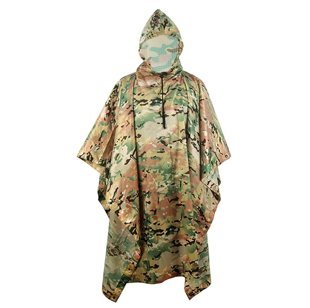 LYP-Rainwear Portable Raincoat Suit Outdoor Camouflage Raincoat Jungle Concealed Multi-Purpose Poncho Mat Multi-Purpose Environmental Protection Hidden Clothes for Outdoor Walking Cycling (Color : A) by LYP-Rainwear