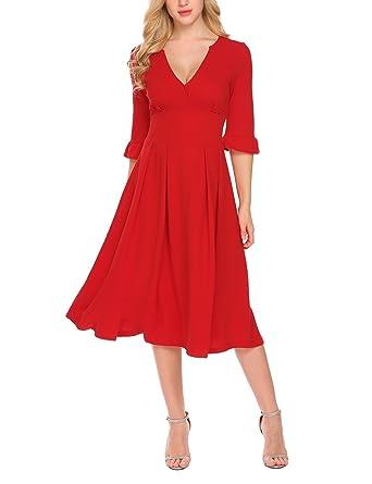 48c5c00f3e4bd ELESOL Women's Elegant Cocktail Maxi Dress Deep V Neck Half Sleeve Vintage  Pleated Dress