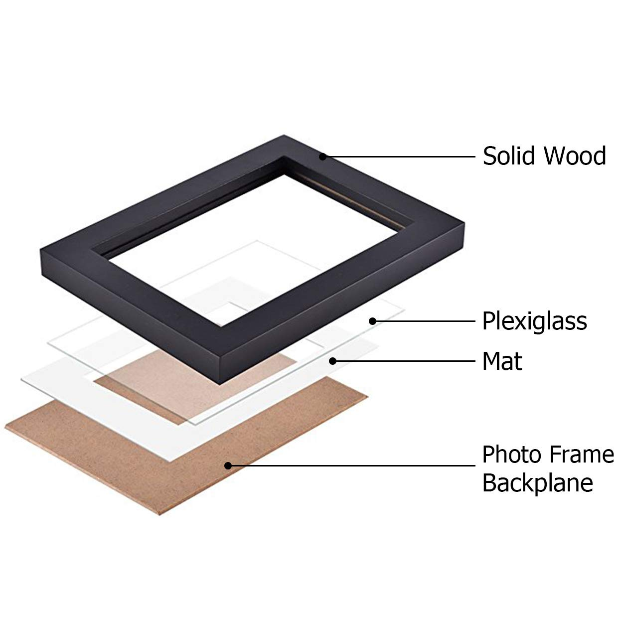 """RIY Picture Frames 5x7 Black Wood Tabletop Wall Decorations Picture Frame Set of 4 Display 3.5x5 Picture with Mat or 5x7/"""" Photo Without Mat"""