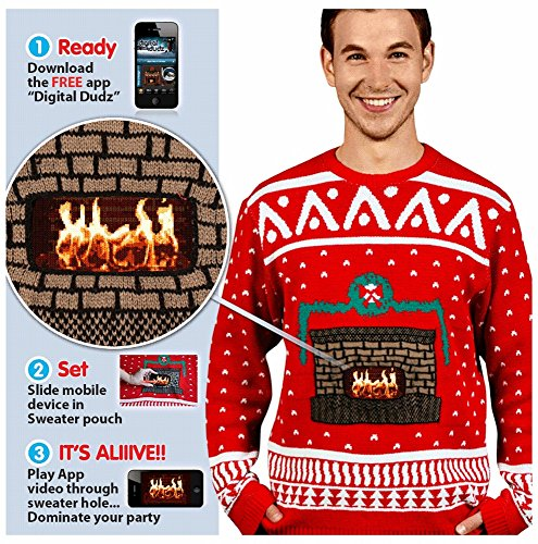 Digital Dudz Crackling Fireplace Knit Ugly Christmas (Digital Dudz Christmas Sweater)