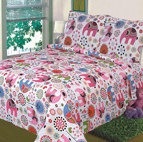 - Fancy Collection Twin Size 2pc Bedspread Girls Floral Pink White Elephant New