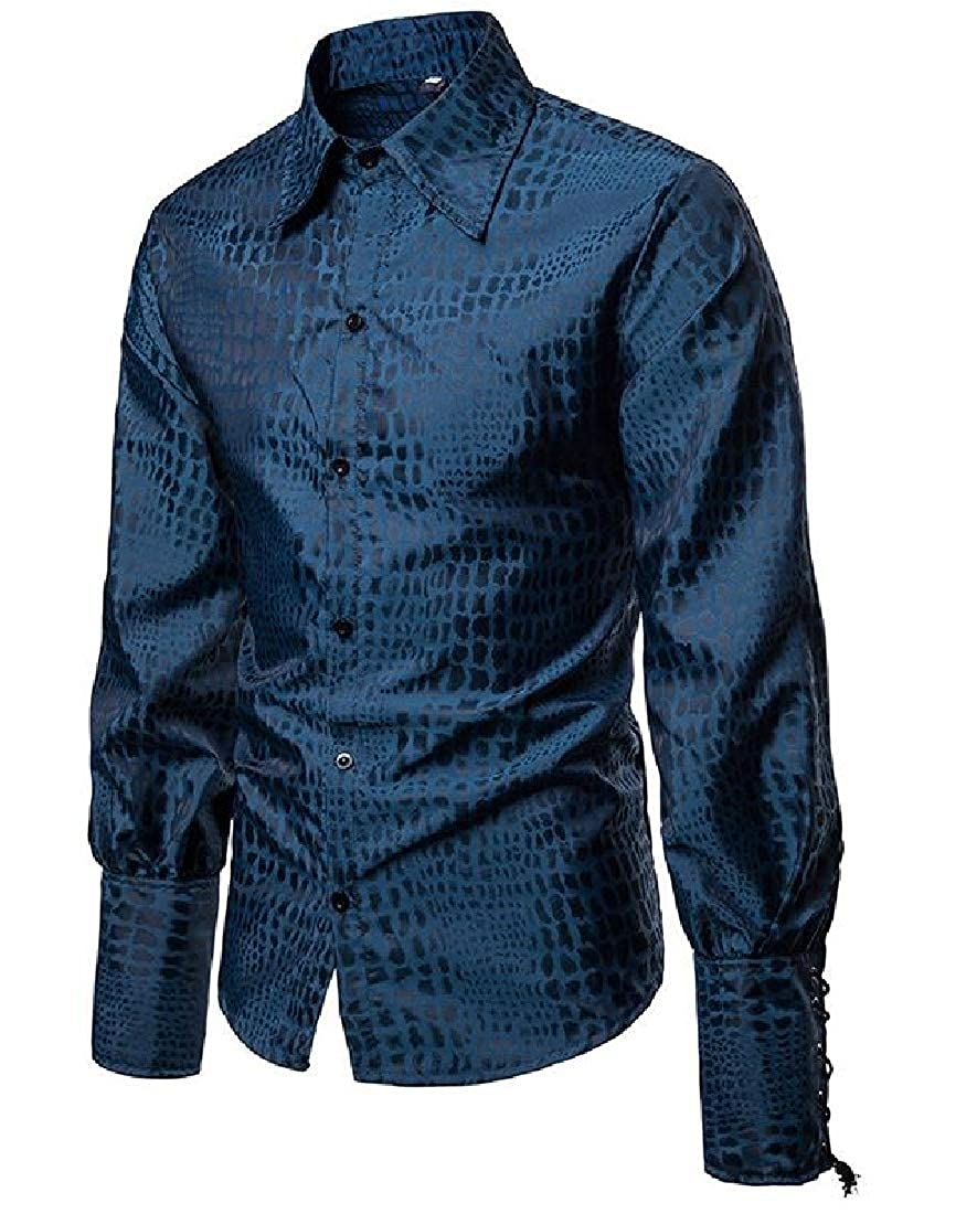Wofupowga Men Casual Medieval Lapel Long-Sleeve Button Down Shirts