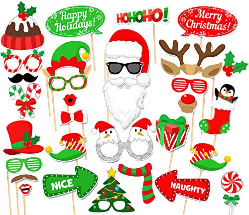 31PCS Christmas Xmas Santa Party Card Masks Photo Booth Props Mustache Supplies ()