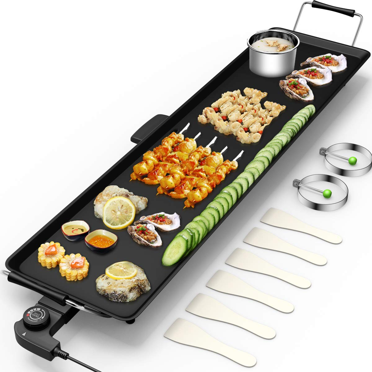 Costzon 35'' Electric Teppanyaki Table Top Grill Griddle BBQ Barbecue Nonstick Extra Large Griddle Electric for Camping Indoor Outdoor with Adjustable Temperature by Costzon