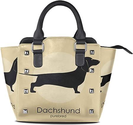 FANTAZIO - Bolso de piel con diseño de perro salchicha para fiestas y compras