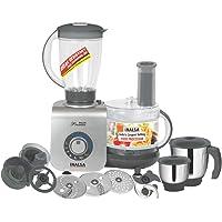 Inalsa Maxie Premia 800-Watt Food Processor with 3 Jars (Grey PU Spray Painted)