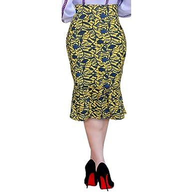 Morbuy Falda Mujer Elástica Cintura Alta hasta La Rodilla Volante ...