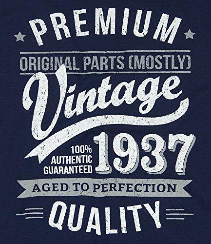 1937 Vintage Year - Aged To Perfection - 80. Geburtstag geschenk T-Shirt fr Herren Marineblau S