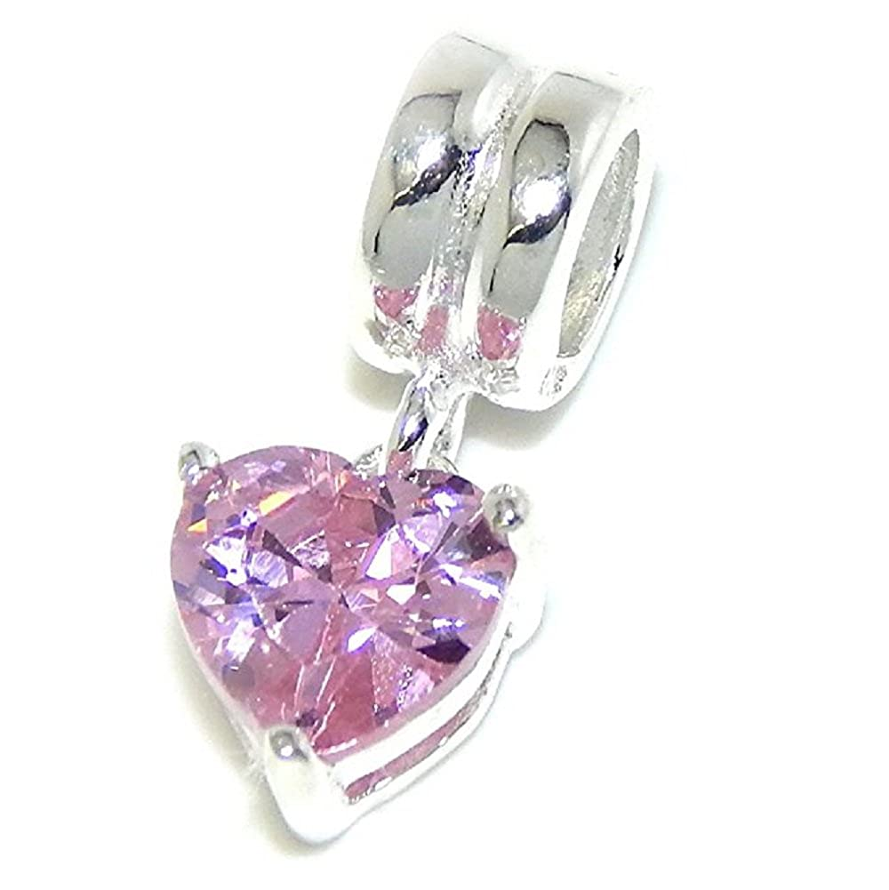 Solid 925 Sterling Silver Dangling Pink Crystal Heart Charm Bead