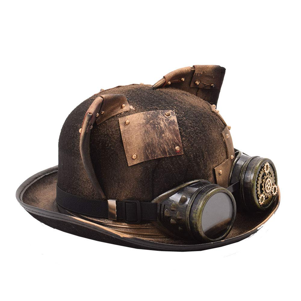LL Women's Steampunk Hat Patch Gear Glasses Deco Top Fedora Headwear (Color : Yellow, Size : 56-58cm)