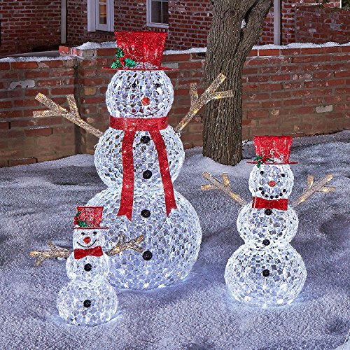 Outdoor Lighted Snowman Family - 8