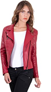 Chiodo in pelle rossa donna Made in Italy