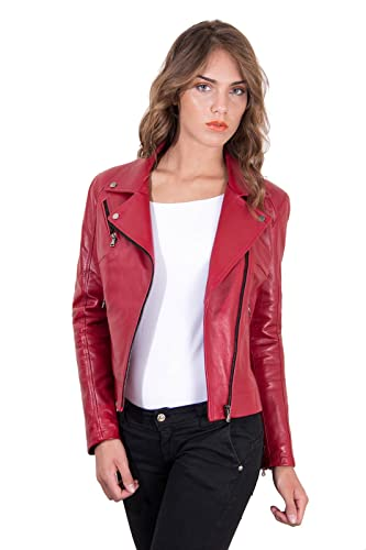 4db0020ae0 Chiodo in pelle rossa donna Made in Italy: Amazon.it: Handmade