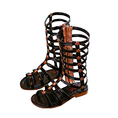 eace944263e BININBOX Girls High-top Gladiator Sandals Summer Rivet Girls Sandals Kids  (10 M US
