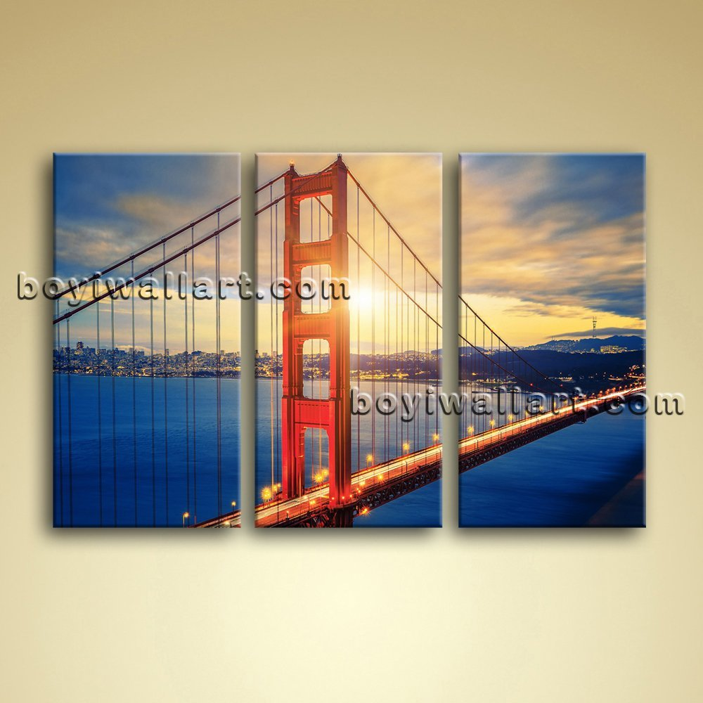 Amazon.com: Large Golden Gate Bridge Sunrise Picture Painting Canvas ...