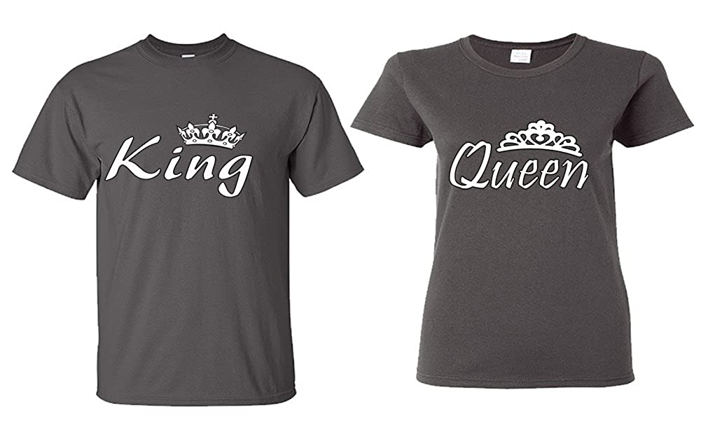 bb4b1d96a3 King And Queen Shirts, Couple Matching Shirts 100% cotton pre-shrunk Unisex  T-Shirt. American adult sizes S-4XL and color variety.