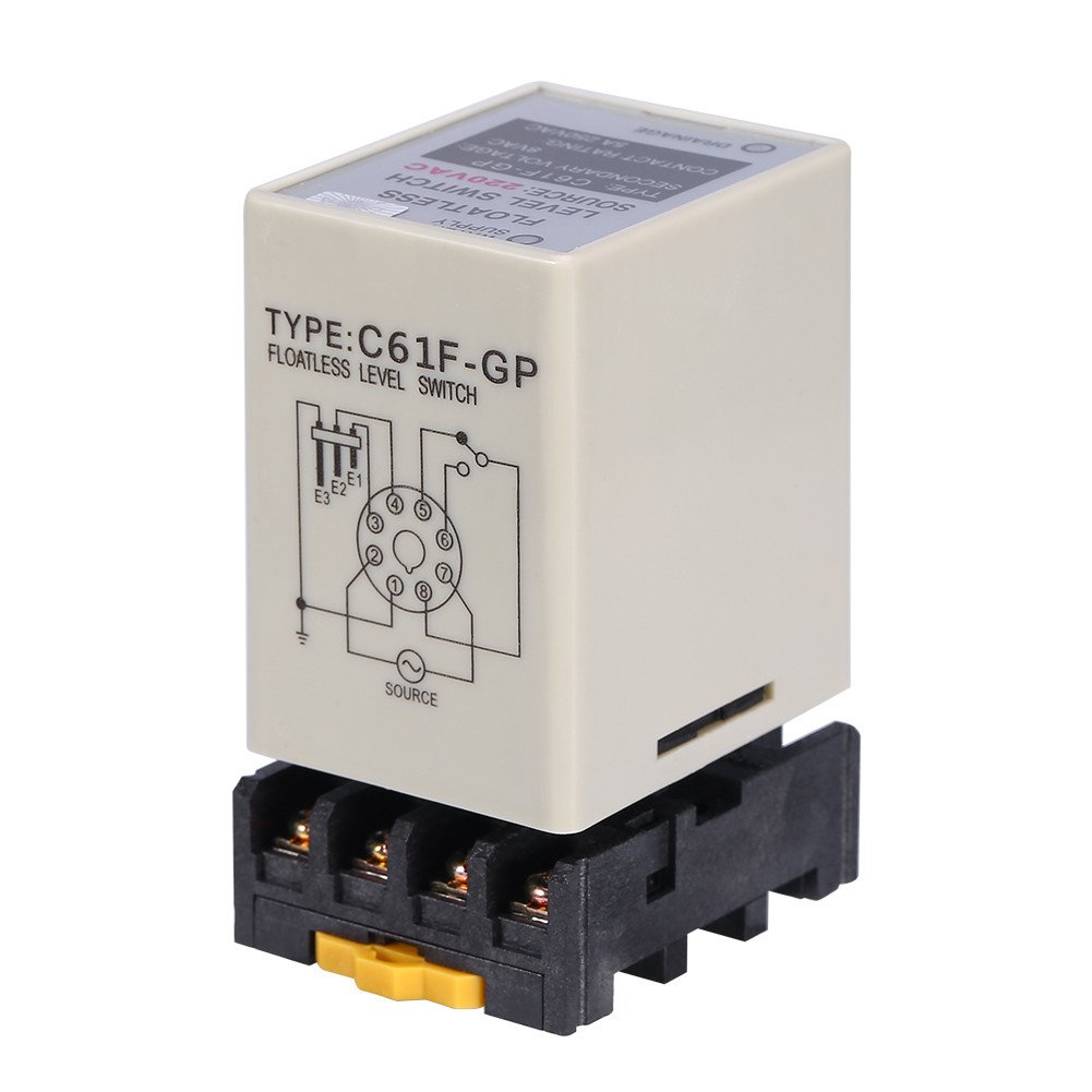 Akozon C61F-GP AC220V 50/60HZ Liquid Floatless Level Switch Controller with Base