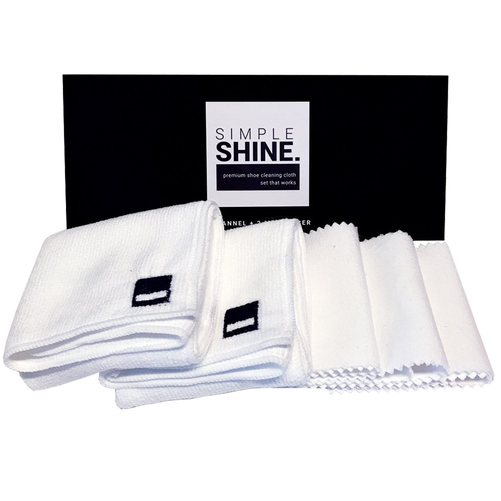 Premium Set Shoe Shining Cloths 3 Flannel & 2 Microfiber | Best for Buffing,Cleaning & Polishing Leather