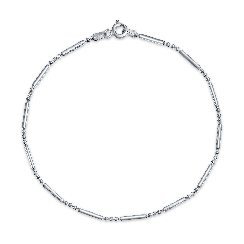 Bling Jewelry 925 Sterling Silver Bead Bar Ball Anklet Bracelet 9in Italy SSTR-bead150-3