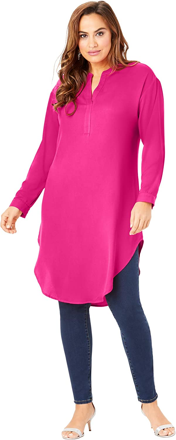 Roamans Womens Plus Size Georgette Pullover Ultra Tunic