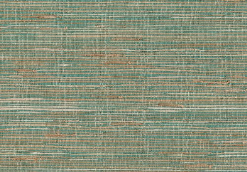 Brewster 53-65606 36-Inch by 288-Inch Keiko - Hand Weaved Grasscloth Wallpaper, Agua & Tan