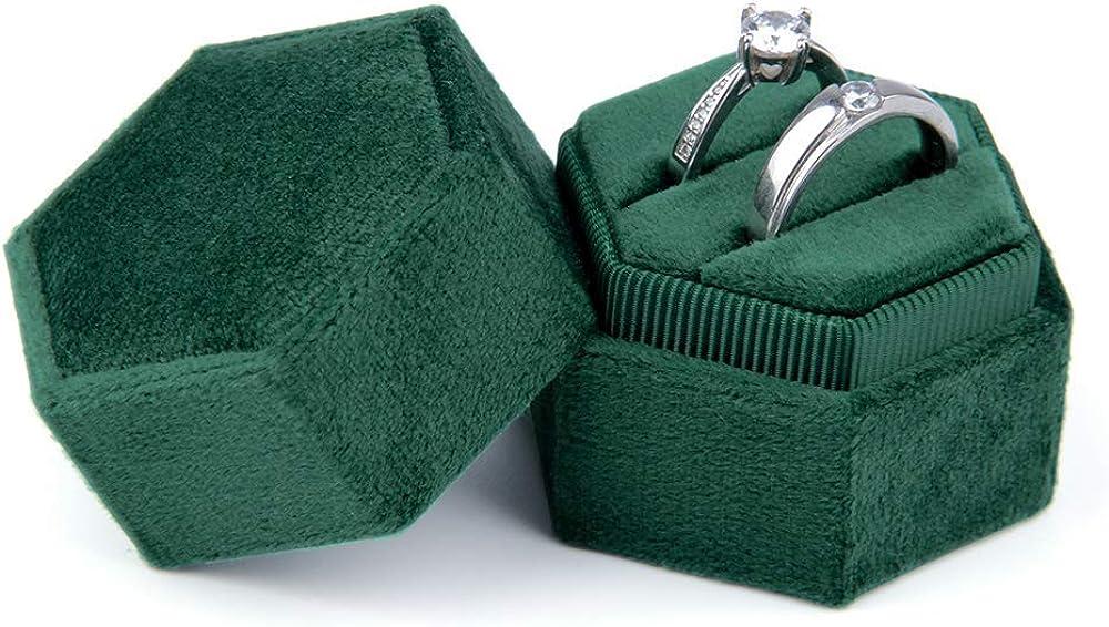 Jolicobo Hexágono Caja Joyero Anillo de Boda Caja Zafiro Hueco Caja de Joyas Terciopelo Ring Box para Guardar Anillos