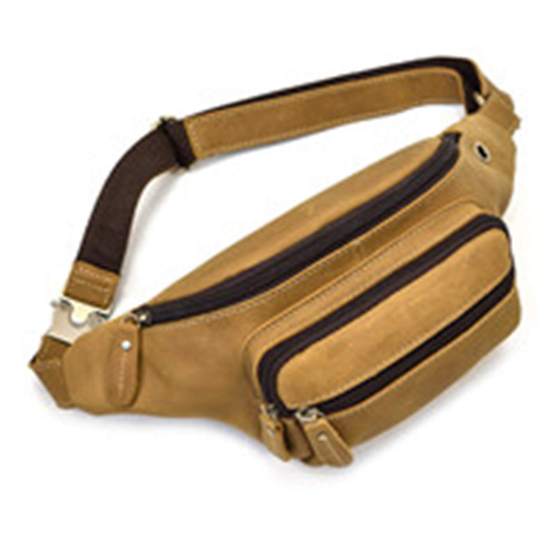 naivety Durable Waist Bag Men Military Fanny Waist Pack Belt Hip Bum Bag Pouch Waist Bag Men Cowhide Leather Waist Bags(LBN,OneSize)