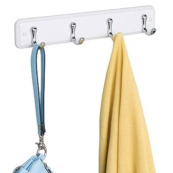 mDesign Perchero para Puerta - 4 Ganchos de Acero Inoxidable para la Puerta, el Pasillo o la habitación – Ideal Accesorio para baño o para Colgar ...