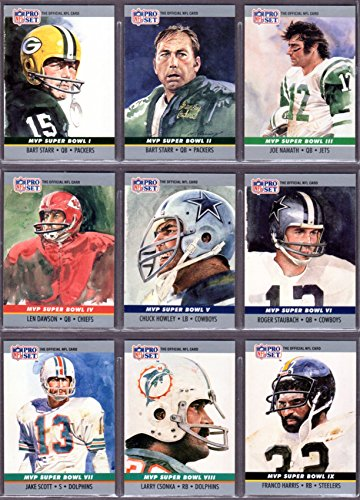 1990 Pro Set (24) Card (Super Bowl Most Valuable Player Sub Set) (See all 3 scans) **Joe Montana, Terry Bradshaw, Roger Staubach, Len Dawson, Franco Harris , Jerry Rice and More