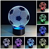 3D Illusion Effect Led Night Light Football Led Night Lamp Soccer 7 Color Change Kids Baby Room Decoration