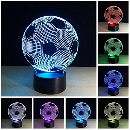 3D Led Night Football Soccer Lighting Lamp Desk Table Lamp 7 Color Change Kids Baby Bedroom Decoration Children Gift