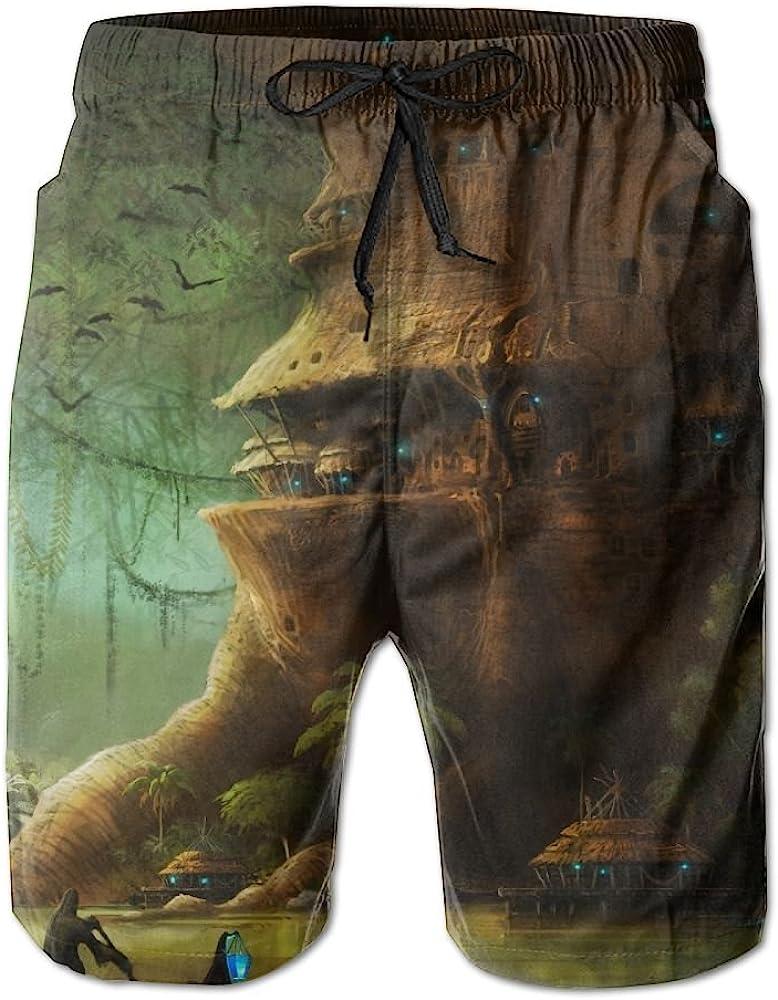 LUASD Mens City Fantasy Tree Quick Drying Moisture Perspiration Surf Pants Swim Trunks