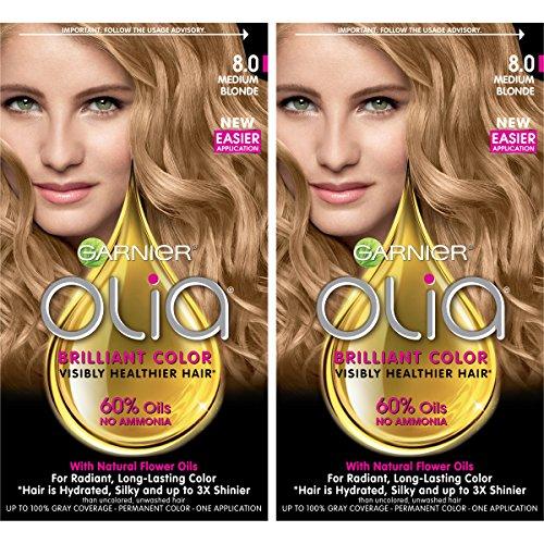 Garnier Olia Ammonia-Free Brilliant Color Oil-Rich Permanent Hair Color, 8.0 Medium Blonde (2 Count) Blonde Hair Dye (Best Medium Blonde Hair Color)