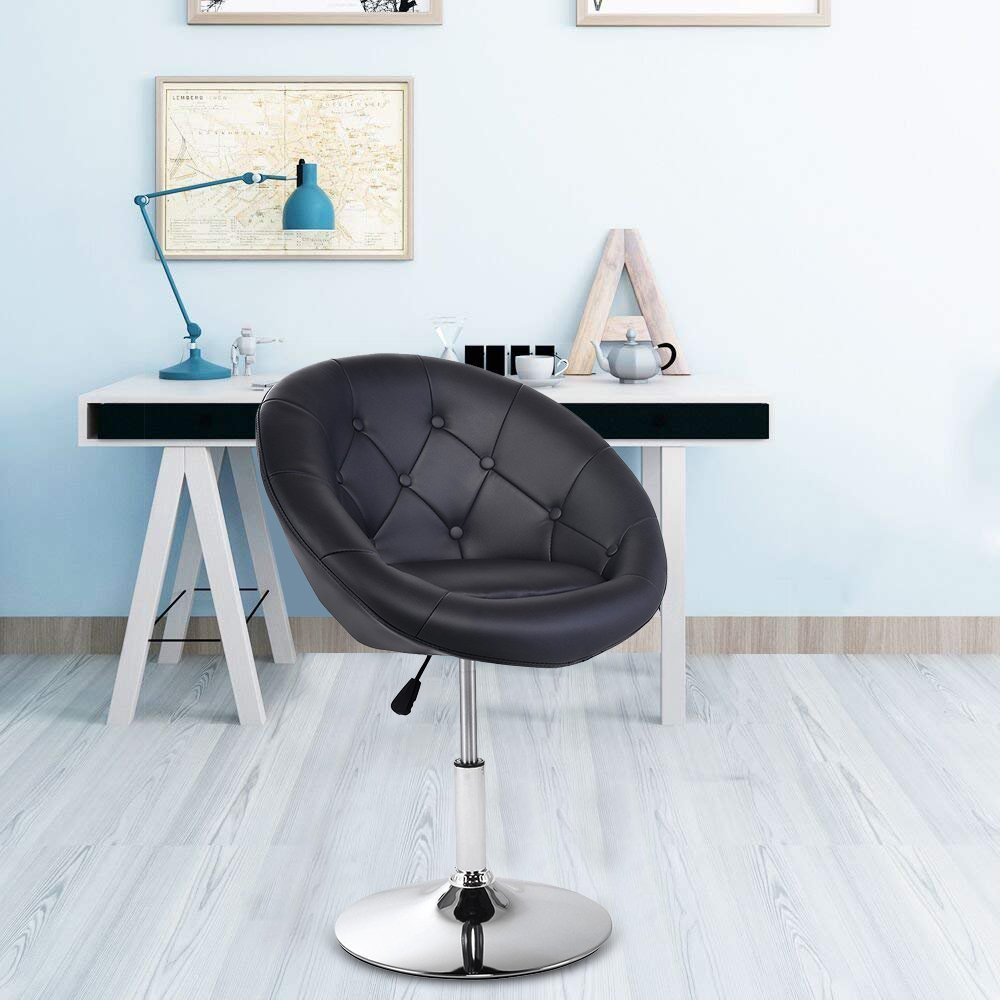 GentleShower Barstool, Round Tufted Back Swivel Chair, Chrome Adjustable Swivel Leather Bar Accent stool Chair with Hydraulic Lift Black
