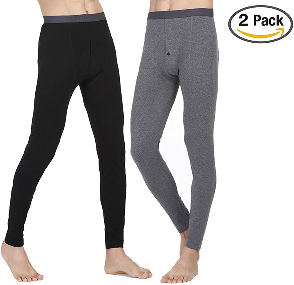 Black IVYRISE Mens Bottom Long Johns Basic Layer Light Weight Cotton Thermal Underwear Pant Size from Large to XXXLarge