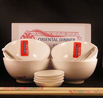 20 Piece restaurant quality vitrified porcelain Oriental Chinese Dinner Set for FOUR consisting of 4 Rice Bowls 4 Spoons 4 Dip Bowls 8 White (with ... & 20 Piece restaurant quality vitrified porcelain Oriental Chinese ...