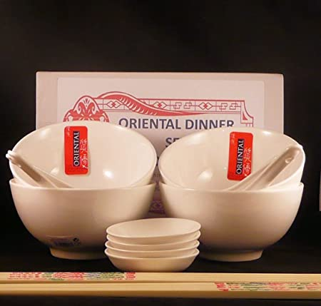 20 Piece restaurant quality vitrified porcelain Oriental Chinese Dinner Set for FOUR consisting of 4 Rice & 20 Piece restaurant quality vitrified porcelain Oriental Chinese ...