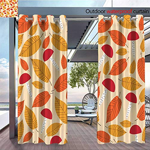 Outdoor Privacy Curtain for Pergola Autumn-forest-pattern-vector-seamless--Mushrooms-and-elms-leaves-background--Fall-gold-colorful-print-for-seasonal-banner--kids-wallpaper--wrapping-paper-or-thank