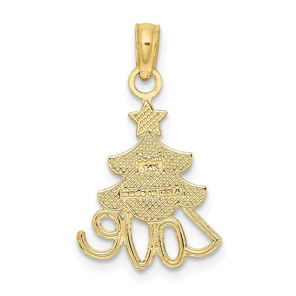 Christmas Tree with Love Two-Color 10k Yellow Gold with White Rodium Small Charm Necklace Pendant with 18 Length Chain