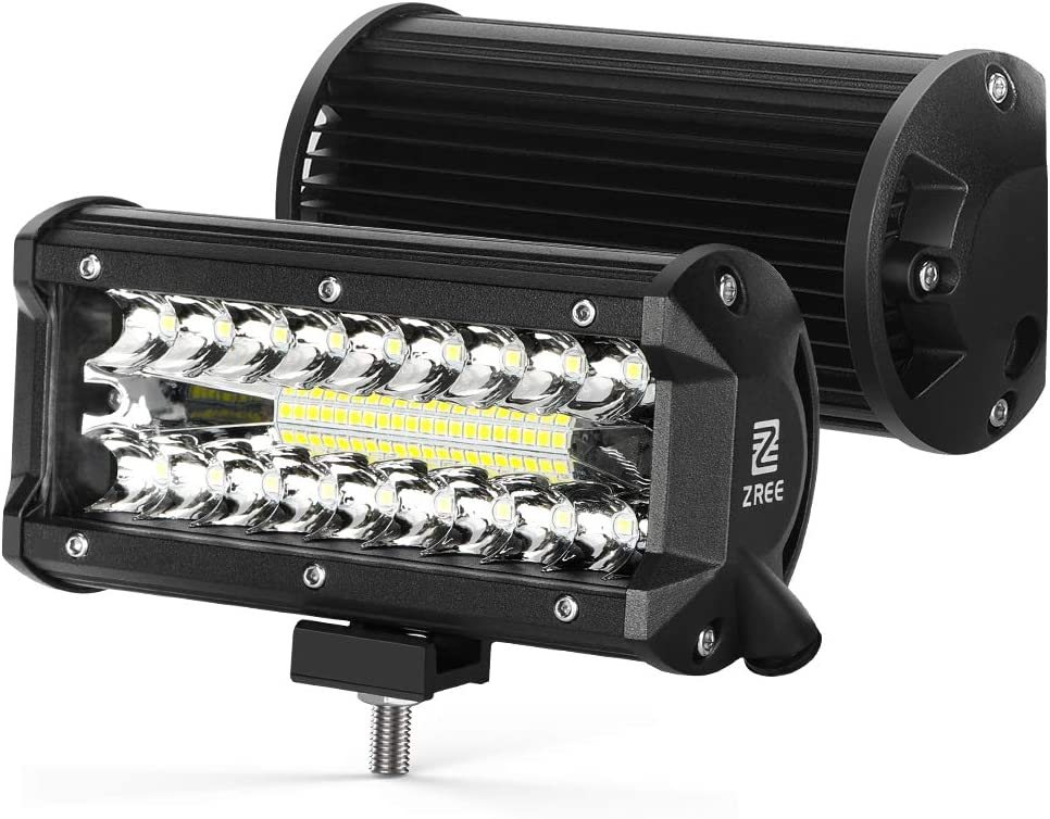 ZREE Focos Led Tractor,2 pcs 120W 7 Pulgadas Faros Led Trabajo IP68 Impermeable Focos de coche barra iluminación luz led 4x4 para Moto,SUV, ATV, Todoterreno, Barco, etc.