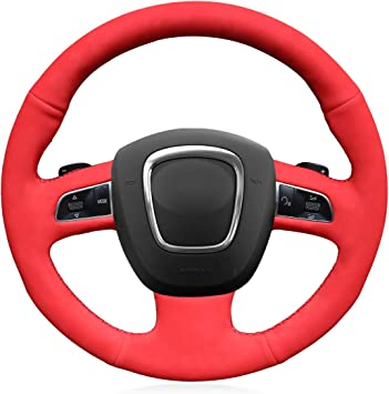 DIY Leather Suede Steering Wheel Cover for Audi A3 A4 A5 A8 Q7 S4 S5 S6 S8 Seat