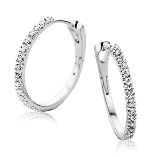 68667e309d24 Orovi Pendientes Señora aros en Oro Blanco con Diamantes Talla Brillante  0.19 ct Oro 9 Kt   375  Amazon.es  Joyería