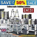 Mult-Purpose Telescopic Folding Ladder 2.6m/3.2m/3.8m/5m Aluminium Extension Ladder A-Frame/Straight Ladder, EN131 (Straight, 2.6m)