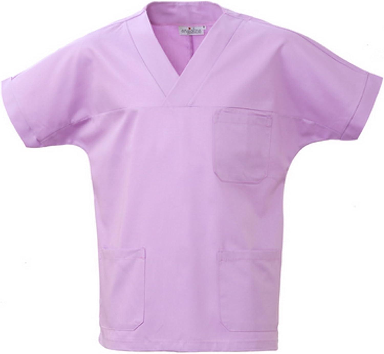 Angiolina Camice Casacca Uomo Donna A V per Medico Infermiere Lilla Glicine MS1401