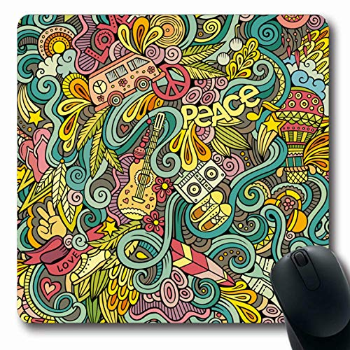 Ahawoso Mousepads Dream Love Handdrawn Doodles On Subject Hippie Hand Hippy Vintage Marijuana Music Peace 60S Design Oblong Shape 7.9 x 9.5 Inches Non-Slip Gaming Mouse Pad Rubber Oblong Mat ()