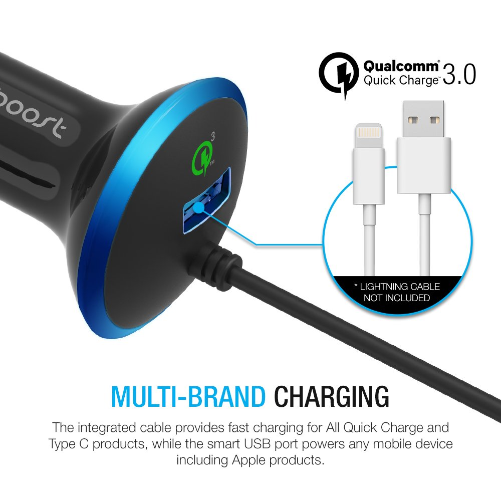 Type C Car Charger, Maxboost 36W Quick Charge 3.0 USB Port + Built-in USB C (3.1) Cable for Galaxy S9 S8 Plus, Note 8, LG G6 G5 V20, HTC 10, Nexus 6P 5X, Macbook, iPhone, OnePlus,Nintendo Switch by Maxboost (Image #5)