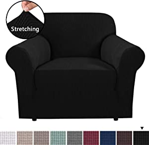 H.VERSAILTEX 1 Piece Couch Cover Stretch Stylish Furniture Cover/Protector Featuring Jacquard Textured Twill Fabric, High Spandex Lycra Slipcover Machine Washable/Skid Resistance (Chair, Black)